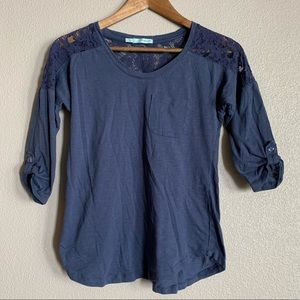 Navy blue shirt with lace back
